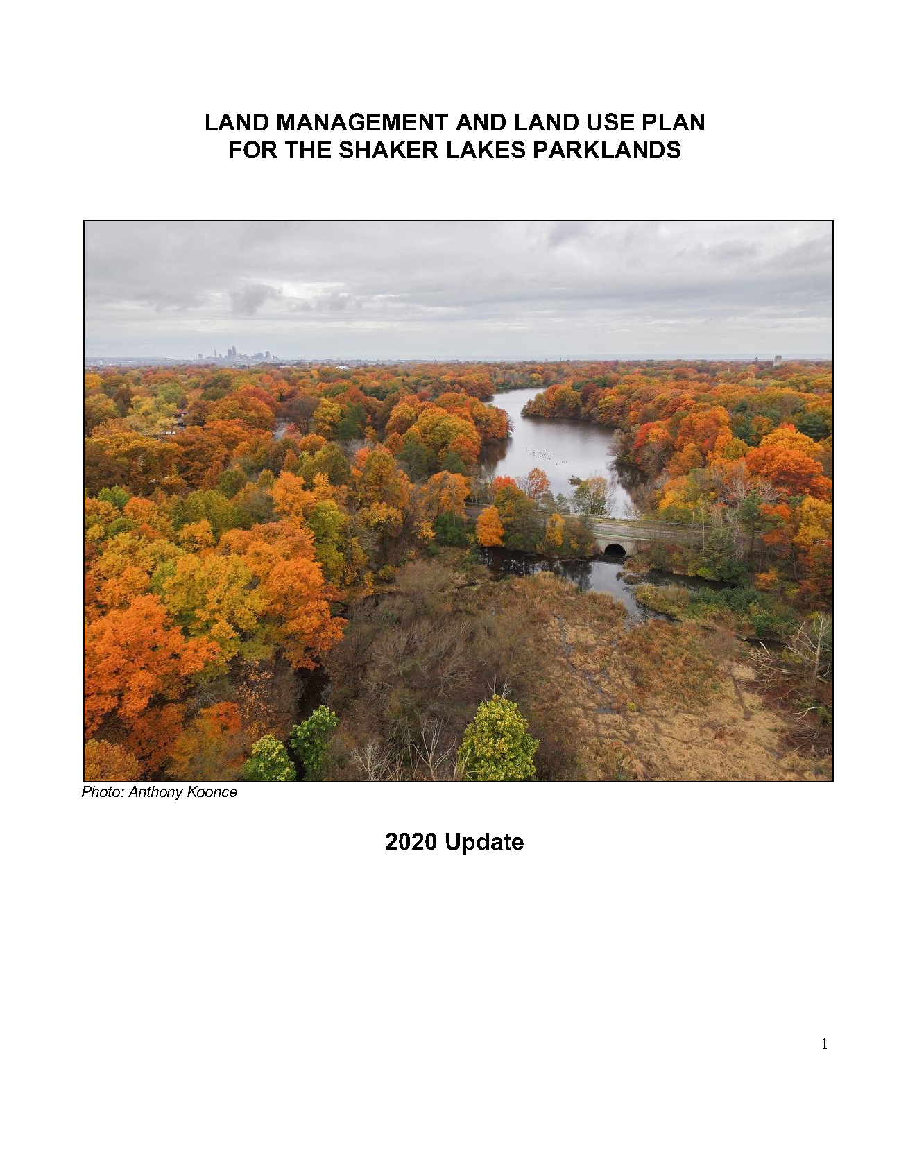 Cover page of the Parklands Management Plan