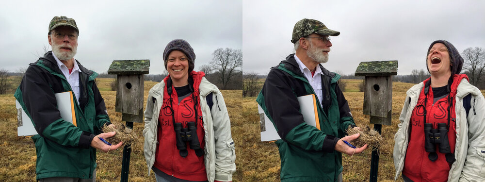 Two photos of John Barber and Dr. Laura Roketenetz wearing jackets and hats while standing next to a bird box. John Barber holds a nest in his hands.